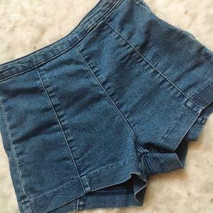 H&M Blue Women's Denim Waist High Short Shorts